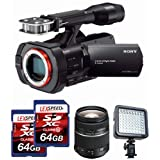 Sony NEX-VG900 Full-Frame Camcorder (Black) + Sony SL2875 28-75mm f/2.8 Lens + LED + Two LEXSpeed 64GB Cards