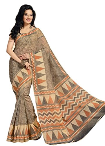 101 Cart fashion Printed Cotton Saree With Blouse in Beige [KS350] (beige\/sand\/tan)