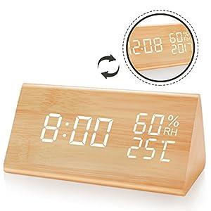 JOYNOTE目覚まし時計 木製 置き時計木目調デジタル 置き時計 大きなLED数字表示