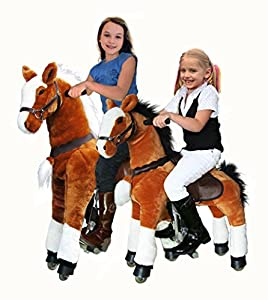 UFREE Large Mechanical Rocking Horse Toy, Ride on Bounce up and Down and Move, 44'' for Children 4 to 15 Years Old (Black Mane&Tail)