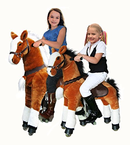 "UFREE Large Mechanical Rocking Horse Toy, Ride on Bounce up and Down and Move, 44"" for Children 4 to 15 Years Old (Black Mane&Tail)"