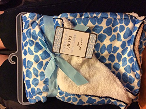 "Super Soft Sherpa ""Little Giraffe Blue"" Baby Blanket - 1"