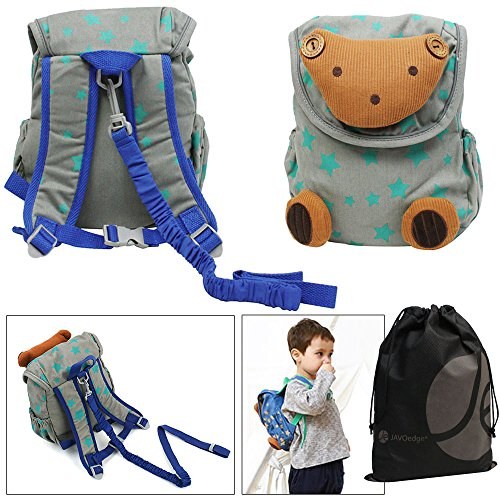 JAVOedge Teddy Bear Toddler Backpack with Safety Harness and Bonus Reusable Storage Bag - 1