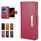 "iPhone 6s Plus Case, iPhone 6s Plus Wallet Case Magnetic Buckle, ESR Intelligent Series PU Leather Wallet Case with Kick Stand [Card Slot] for Apple iPhone 6/6S Plus 5.5"" _Brown_Rosy Red"