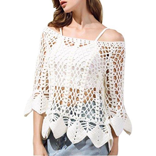 Fheaven Women Half Sleeve Loose Knitted Sweater Knitwear Outwear T Shirt Tops Coat (White)