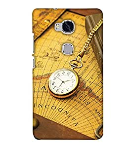 PrintHaat Premium Back Cover For Huawei Honor 5X :: Huawei Honor X5 :: Huawei GR5 (golden vintage clock on the world map on the table tied with the chain)