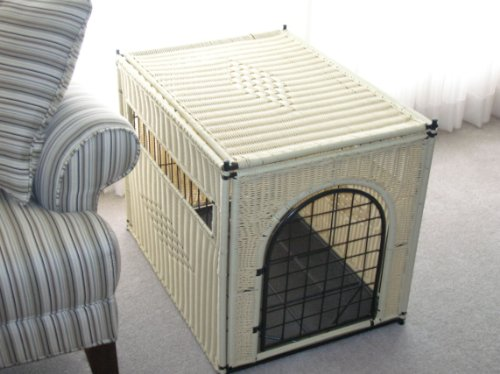 Decorative Dog Crate, Large Size, Natural Color, Round Door front-42307