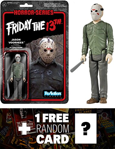 Jason Voorhees: Funko x Super 7 x Friday the 13th ReAction Series + 1 FREE Classic Horror Movies Trading Card Bundle [41328]