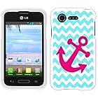 Casemas (TM) Turquoise Chevron Pink Anchor Flexible Slim TPU Phone Case Cover for LG Optimus Fuel L34C / Zone 2 VS415