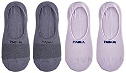 Mabua Breathable NON SLIP No Show Socks, Grey/Off White, M, 4 Pack