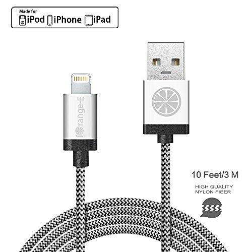 Cable iOrange-E 10 pies de cable trenzado USB a entrada Lightning para iPhone 6, 6S Plus, 5S, 5C, 5 y iPad Air, iPad Pro, iPad Mini 4 y iPod 5 Nano 7, plateado