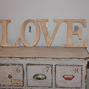 Natural Wooden Wall Mounted LOVE LETTERS 20 Cm Amazonco