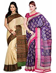 AISHA Printed Fashion Machine Art Silk Multicolor Sari (Pack Of 2)