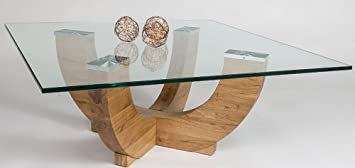 Table basse en bois chêne sauvage avec plateau en verre - Dim : 85 x 85 x 34,5 cm -PEGANE-