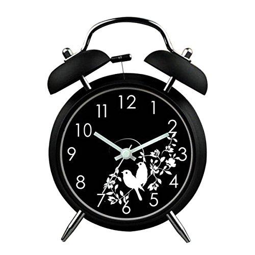 YESURPRISE Réveil matin Enfant Quartz Lumineux Alarme Clock Silencieux Oiseaux Noir