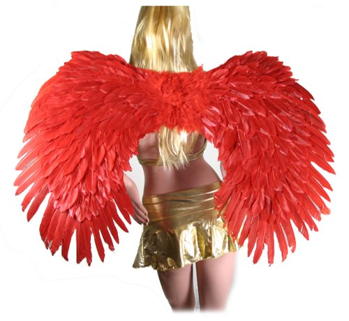 SACAS Super Large Red Feather Angel wings w/ FREE HALO for men, women and adults