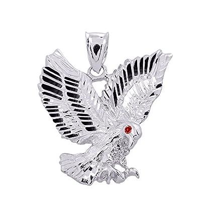 High Polish 14k White Gold Landing Eagle Necklace Pendant
