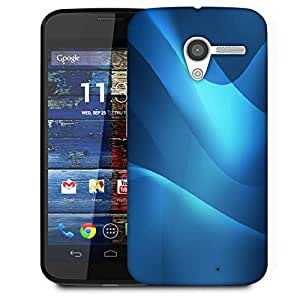 Snoogg Blue Waves Pattern Designer Protective Phone Back Case Cover For Moto X / Motorola X