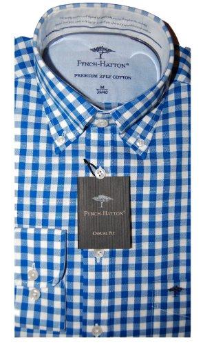 Fynch Hatton Mens Casual Shirt 131-7400 Blue (Large)