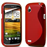 ONX3 HTC Desire X Red S Line Wave Gel Case Skin Cover + LCD Screen Protector Guard
