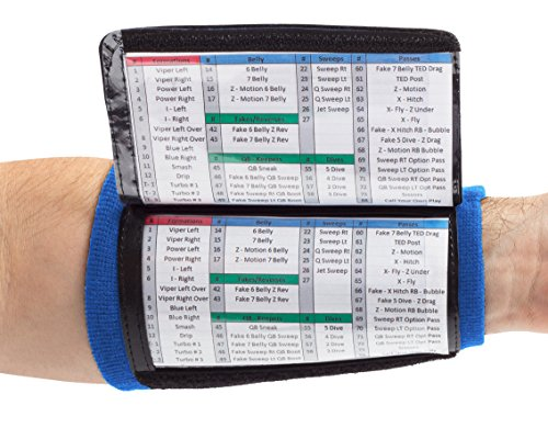 WristCoaches QB Wrist Coach - Playbook Wristband (Youth - Royal Blue) - Heavy Duty Football Wristbands for Boys with Three Playsheet Compartments - Perfect for Flag Football and Tackle Football