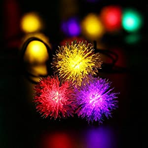 [Upgraded 50LEDs]LuckLED Chuzzle Ball Solar String Lights, 23ft LED Christmas Lights with Light Sensor for Indoor and Outdoor, Garden, Home, Wedding, Party and Holiday Decor, Waterproof(Multi-Color)