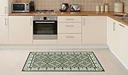 NEW Oriental Mats Tile Rug Carpet PVC Vinyl Floor Door Cleanable For Bedroom, Kitchen, Salon and Living Room, Home Decoration, Tiva Design 227, Amazing Gift (120X72cm)