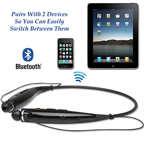 wireless bluetooth neckband headset by chirotronix free bonus velvet bag hands free stereo w. Black Bedroom Furniture Sets. Home Design Ideas