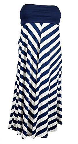 Evogues Plus Size Striped Dress Skirt Navy Blue - 1X