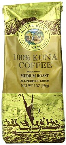 Royal Kona 100% Kona Coffee, Private Reserve, Medium Roast, Ground, 0.44 Pound