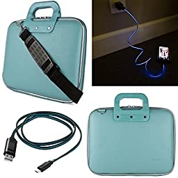 SumacLife Cady 11.6-inch Tablet Bag for Insignia Flex NS-P11W6100 with Lightning Micro USB Data Cable (Blue)