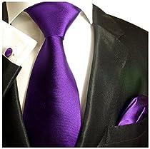 Paul Malone Necktie Set 100% Silk Tie, Handkerchief and Cufflinks, Solid Purple