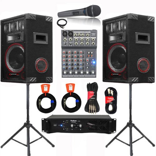 Speakers, Amp, Mixer, Mic and More Technical Pro PA DJ Set New VMPR8