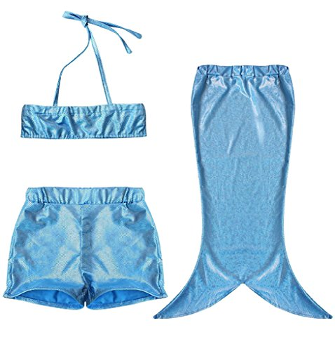 Baby Girls Swimmable Mermaid Tail Princess Bikini Bathing Costume Swimwear 3PCs