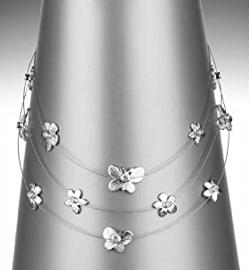 Silver Plated Assorted Charms Diamanté Necklace