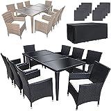TecTake Poly Rattan Aluminium Gartenmöbel Gartengarnitur Essgruppe Gartenset Sitzgruppe 8+1 schwarz + 2 Bezugsets + Regenhaube, mit Edelstahlschrauben - diverse Farben - (Schwarz)