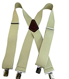 Contractor 2'' Wide Tan Work Suspenders, X-back with Patented No-slip®Silver Clips