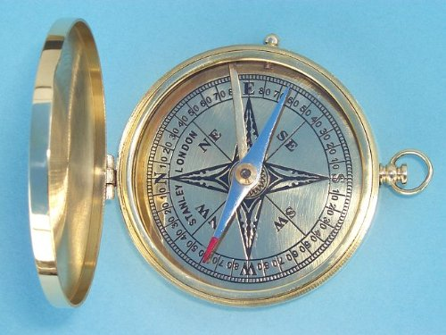 Polished Large Brass Pocket Compass
