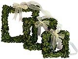 Mills Floral Company Boxwood Square Wreath Set w/ Ribbon