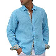 Modern lined Aqua long sleeve linen shirt.