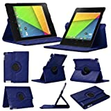 Stuff4 MR-NX7-2-L360-NB-STY-SP Leather Smart Case with 360 Degree Rotating Swivel Action and Free Screen Protector/Stylus Touch Pen for 7 inch Google Nexus 7 - Navy Blue