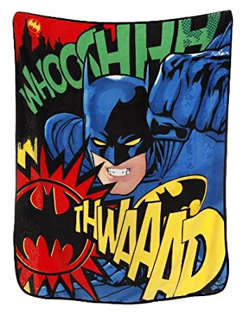 Batman Graphic Whooshhhh Thwaaaap Micro Raschel Throw Blanket