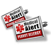 "Neonblond Cufflinks Medical Alert Red ""Peanut Allergy"" - cuff links for man by NEONBLOND Jewelry & Accessories"
