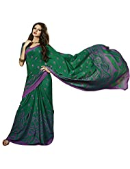Fashionable Green Colored Printed Crape Saree By Triveni