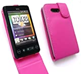 EMARTBUY HTC HD MINI PREMIUM PU LEATHER FLIP CASE COVER WITH BUILT IN PHONE HOLDER CERISE PINK