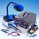 "4 IN 1 - ""X-TRONIC"" MODEL #8080-XTS - HOT AIR REWORK & SOLDERING IRON STATION (CELSIUS/FAHRENHEIT), 30V-5A DC POWER SUPPLY & 50V-5A DC TEST METER - 10 SOLDERING TIPS - 4 HOT AIR NOZZLES - 1 ANTI-MAGNETIC TWEEZERS - 1 5X MAGNIFYING LAMP!!!"