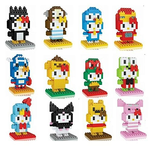 Hello Kitty Toys Nanoblock Building Set San-X Micro Nano Blocks Games 12 Set Collection Cute Cat Build Kits Gift with Original Box