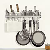 Plumeet Multifunctional Wall Hanging Aluminum Kitchen Rack of Wall Shelf, Condiment Bottle Rack, Utensil/Pot/Pan Hanger Hook, Pot Organizer, Storage Rack and other Kitchen Gadgets
