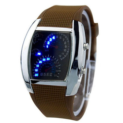 Fashion Mens Rpm Turbo Blue Flash Led Watch Gift Sports Watches Car Meter Dial