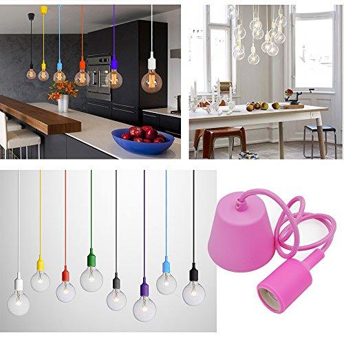 Princeway Colorful Gel Di Silice a Apparecchiatura Di Lampadari Moderni da Soffitto- Europeo IKEA Stile- DIY Installazione Facile Per Illuminazione Domestica in Cucina, Sala Da Pranzo, Soggiorno, Camera Per Bambini e Ristorante (Rosa)